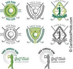klub, logo, grün, golfen, entwürfe