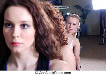 klub, mädels, hübsch, fitness