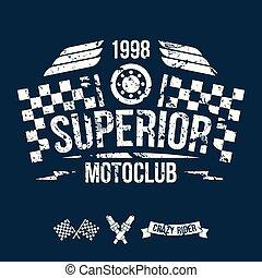 klub, mód, embléma, motorkerékpár, retro