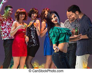 klub, nacht, sexy, woman, tanzt