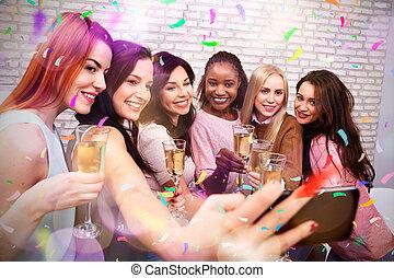 klub, nehmen, nacht, champagner, selfie, frauen