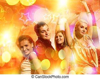 klub, noc, ludzie, taniec