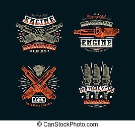 klub, póló, állhatatos, embléma, motorkerékpár