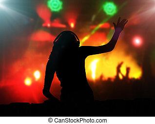 klub, partia, słuchawki, didżej, noc