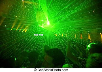 klub, party, hintergrund, nacht
