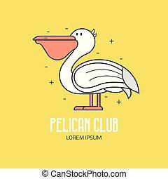 klub, pelikan, plaża, logo