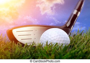 klub, piłka, golf, trawa