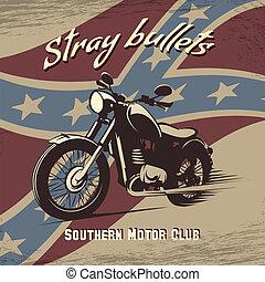 klub, poszter, retro, motorkerékpár