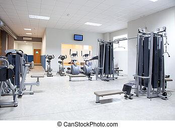 klub, sala gimnastyczne zaopatrzenie, stosowność, wewnętrzny, sport