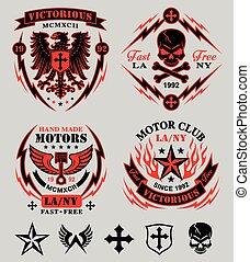 klub, satz, emblem, motor