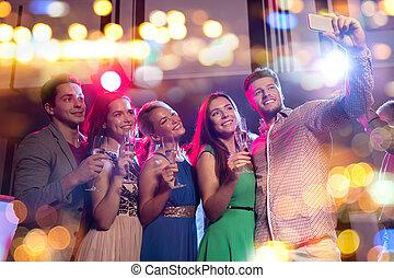 klub, smartphone, friends, brille