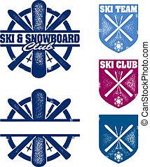 &, klub, snowboard, briefmarken, mannschaft, ski