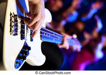 klub, spełnianie, młody, gitarowy gracz, noc