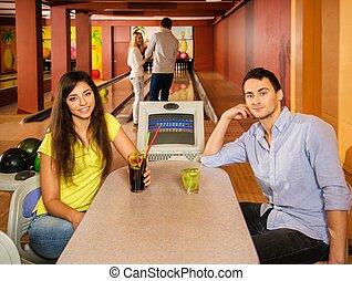 klub, stół, para, za, gra w kule