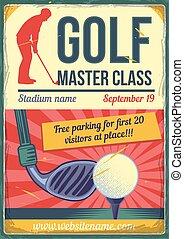 klub, tło., golf, zakurzony, ilustracja