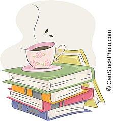 klub, tea kávécserje, könyv, hátaslovak