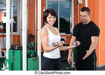 klub, trening, kobieta, aparat, lekkoatletyka