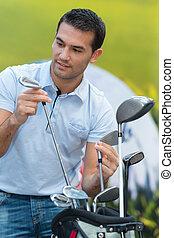 klub, zrywanie, jego, golf, człowiek