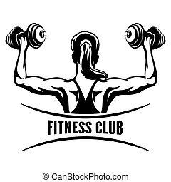 klubba, emblem, fitness