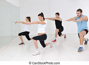 Klubba,  fitness, grupp, ung, folk
