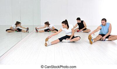 klubba, fitness, grupp, ungdomar