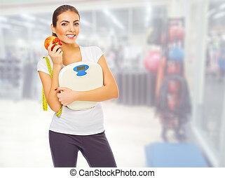 Klubba, flicka, prålig,  fitness