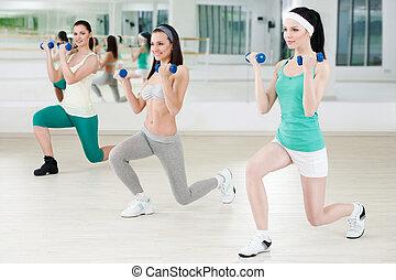 Klubba, flickor, tre,  fitness