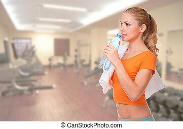 Klubba, kvinna, ung,  fitness