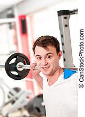 klubba, man, vikter, lyftande, fitness