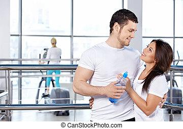 klubba, par, fitness