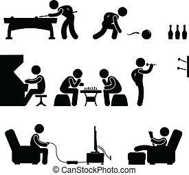 klubba, snooker, inomhus, slå samman, aktivitet