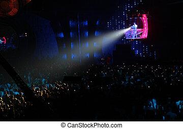 klubba, spotlight, natt
