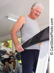 klubba, wellness, senior, exercerande, man