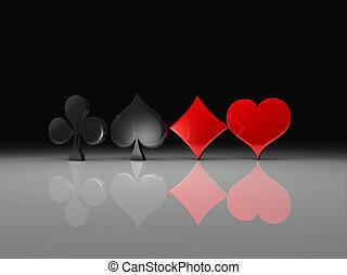 kluby, pik, serca, i, dzwonek