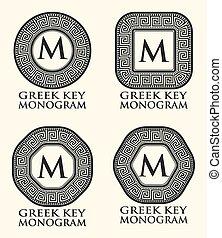 klucz, grecki monogram, komplet, wektor