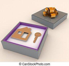 klucz, i, symbol, od, dom, w, czerwony, dar, box., pojęcie, od, twój, sen, house.