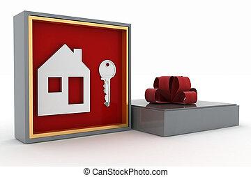 klucz, i, symbol, od, dom, w, dar, box., pojęcie, od, twój, sen, house.