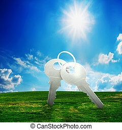 klucz, na, zielony, field., nowy dom, przyszłość