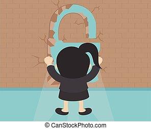 klucz, przód, kobieta stanie, handlowy, ściana, formułować, cegła