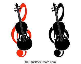 klucz wiolinowy, skrzypce