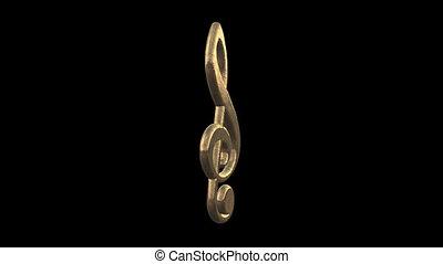 klucz wiolinowy, z, na, kanał alfy