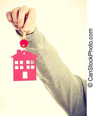 kluczowe kolisko, z, dom, pendant.