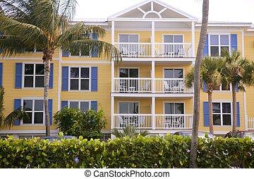 kluczowy zachód, barwny, domy, w, południowa floryda