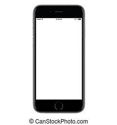 klug, ansicht, leer, iphone, freigestellt, front, schwarz, beweglich, weißer hintergrund, direkt, stil, telefon, schirm, modern