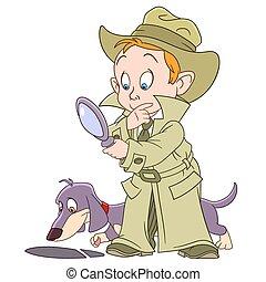 klug, detektiv, karikatur, junge, junger