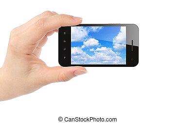 klug, frau, himmelsgewölbe, telefon, hält, hand