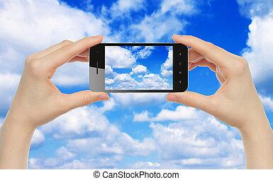 klug, halten, frau, hände, himmelsgewölbe, telefon