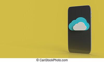 klug, technologie, übertragung, 3d, zufriedene , telefon, wolke, vernetzung
