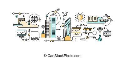 klug, technologie, in, infrastruktur, von, stadt