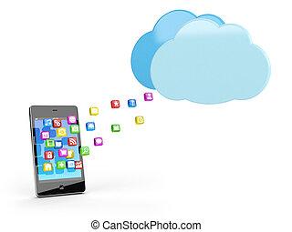 klug, telefon, mit, app, heiligenbilder, und, wolke